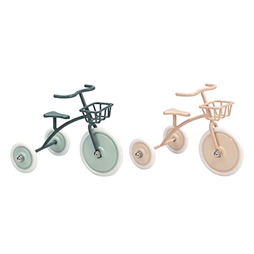 Aizulhomey Metal Miniature Tricycle Dollhouse Miniature Furniture Size Nice for 4-8 in (10-20 cm) Dolls 1:12 Scale Dollhouse Decoration Dollhouse Accessories 2 Pcs Color Green&Pink
