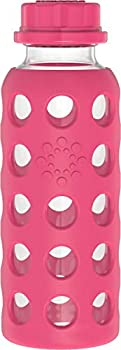 Lifefactory 9-Ounce BPA-Free Glass Water Bottle with Flat Cap and Silicone Sleeve Raspberry