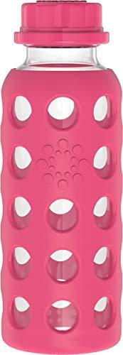 Lifefactory Kinder Glas-Trinkflasche, BPA-frei, Silikon-Schutzhülle, Borosilikatglas, spülmaschinenfest, 265ml, raspberry (Pink)