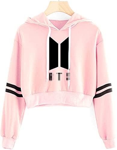 SIMYJOY KPOP Korea Pop Suéter Letras Sudaderas con Capucha Crop Top Sudadera Jersey para Niñas y Mujeres K-pop92 Pink S