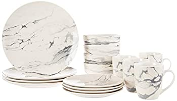 American Atelier Round Dinnerware Sets   White & Gray Kitchen Plates Bowls and Mugs   16 Piece Stoneware Marble Collection 10.5 x 10.5   Dishwasher & Microwave Safe   Service for 4