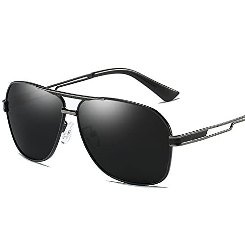 DovSnnx Unisex Polarizadas Gafas De Sol 100% Protección UV400 Sunglasses para Hombre Y Mujer Gafas De Aviador Gafas De Ciclismo Ultraligero Toad Mirror Black Gun Frame Lentes Grises