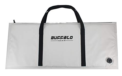 Buffalo Gear Insulated Fish Cooler Bag 40x17 Inch,Monster Fish Kill Bag,Large Portable Fish Bag White, keep ice-cold more than 24 hours