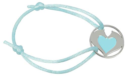 happyROSS Satin-Armband Herzpferde, blau | süßes Armband mit Pferd und Herz | Kinder, Mädchen, Pferdefreunde, Pferdeliebhaber