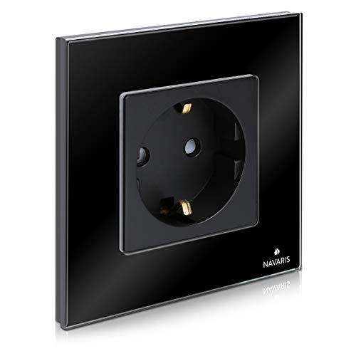 Navaris Glas Schuko Steckdose einfach - mit Montagematerial - Design Schutzkontakt Wandsteckdose mit Glasrahmen - in Schwarz
