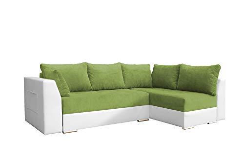 mb-moebel Ecksofa mit Schlaffunktion Eckcouch mit Zwei Bettkasten Sofa Couch Wohnlandschaft L-Form Polsterecke Laos (Grün + Weiß, Ecksofa Rechts)