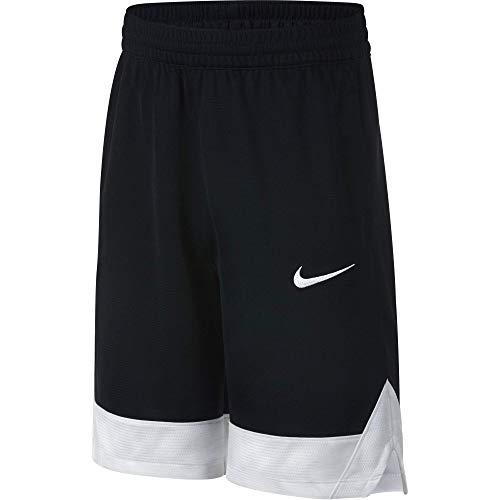 Nike Boy's Icon Basketball Shorts, Boy's Athletic Shorts with Side Pockets, Black/White/White, XS