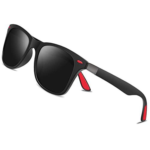 BONDDI Gafas de Sol, Gafas de Sol Polarizadas Marco Irrompible Gafas Protección UV400 Gafas para Hombres Mujeres (Negro)