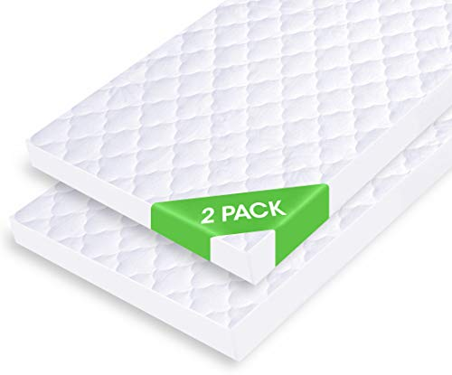 """iLuvBamboo Waterproof Bassinet Mattress Pad Protector - Fits Most Mattresses Up to 33"""" x 17"""" - Hourglass, Rectangle, Oval - 2 Pack - Soft Bamboo Jacquard Fitted Topper Cover - Quiet & Breathable"""