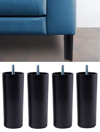 IPEA 4X Gambe in Plastica Alte 19 CM per Divani, Mobili, Armadi – Set di 4 Piedi con Vite per Arredamento – Piedini Colore Nero, Altezza 190 mm