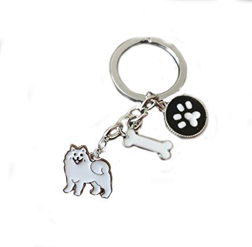 NashaFeiLi Hunde-Schlüsselanhänger, niedlicher Hunde-ID-Anhänger aus Metall, für Hundeliebhaber (Samojed)