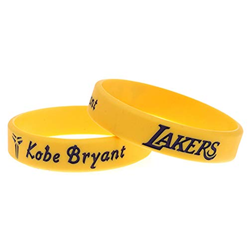 Zdy 5Pcs Braccialetto in Silicone Mamba Snake Lakers Commemorative Edition No. 24 Signature Edition Kobe Basket NBA Fan Bracciale Silicone Anello Sport,Giallo