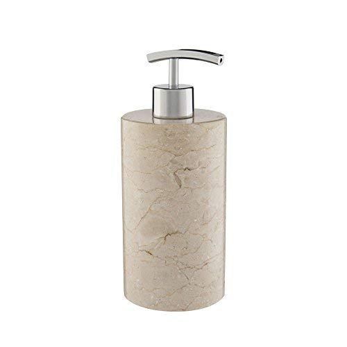 wohnfreuden Marmor Seifenspender rundum poliert 15 cm Höhe Creme