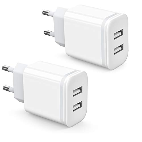 Niluoya Cargador USB Pared con Dos USB Puertos 5V 2.1A 2-Pack Adaptador Universal Enchufe Móvil Replacement for iPhone X Xs MAX XR 8 7 6 6S Plus 5S 11 Pro, Samsung Galaxy, Xiami Redmi, Huawei, Android