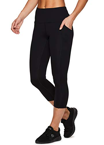 RBX Active Women's Power Hold High Waist Capri Leggings with Pockets Black L