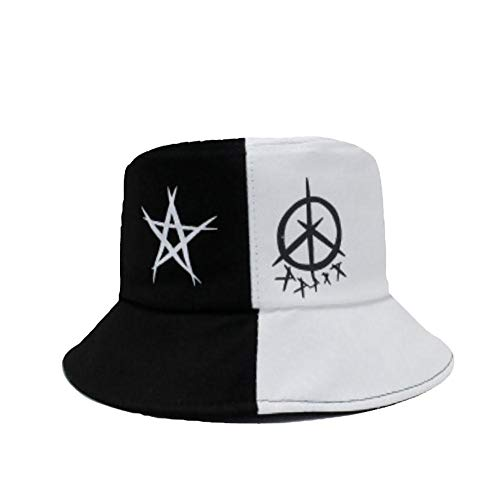 Drawihi. Doodle Gorro De Pescador Tendencia Hip-Hop Hat Sombrero para El Sol Al Aire Libre Unisex 58-60cm Algodón Blanco y Negro