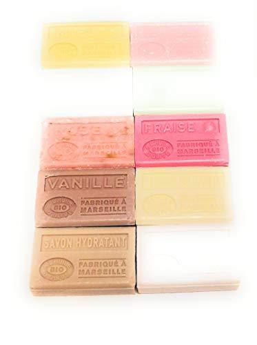 Label Provence - Lot de 10 savons a l'huile d'olive BIO ; Eglantine, Aloe vera, Beurre de karité, Miel, Rose, Vanille, Savon hydratant, Fleur de coton, Amande douce et Fraise. 10x125g