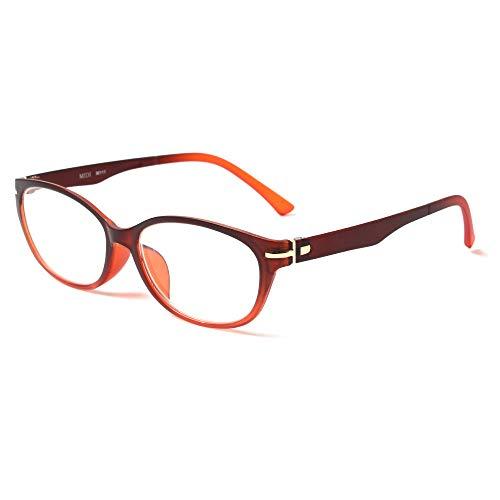 MIDI-ミディ 老眼鏡 UVカット 大きめのレンズを使った緩やかなラインのキャットアイフレーム リーディンググラス レディース サンセットオレンジ 度数+1.50 (m111,c3,+1.50)