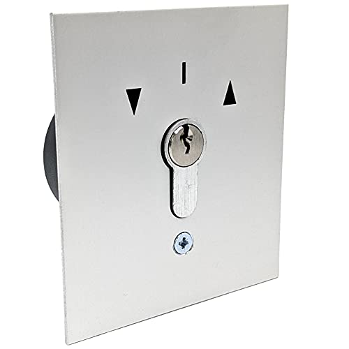 geba US 1-2T/1 - Interruptor de llave empotrado con perfil DIN de medio cilindro de perfil 2 botones y 3 llaves, placa frontal de aluminio plateada antirobos IP54 para puerta de garaje