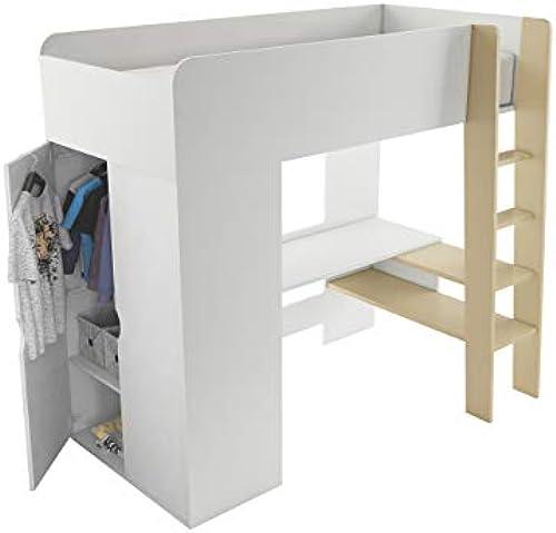 Etagenbett Tambor Hochbett, mit Kleiderschrank und Schreibtisch, Matratzen im Set, Modern Bett für Kinderzimmer (Weiß Congo)
