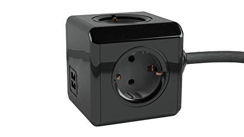 PowerCube Schwarze 4er-Mehrfachsteckdose Extended Duo-USB mit 3m Kabel | Stilvolle Steckdosenleiste mit 2 USB-Anschlüssen und 4 Steckdosen mit Grauer Kontaktstelle | TÜV-getester Mehrfachstecker