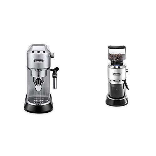 De'Longhi Dedica EC 685.M Espresso Siebträgermaschine | 15 bar |  Professionelle Milchschaum Düse| Füllmenge 1 l | Vollmetallgehäuse | Silber + KG 521.M Elektrische Kaffeemühle, silber