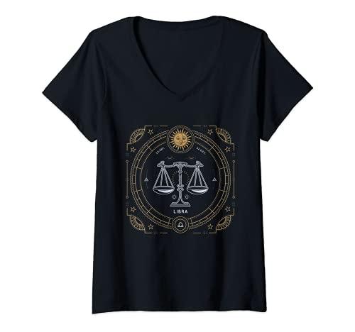 Mujer Libra Facts Rasgos Horóscopo Zodiaco Camiseta Cuello V