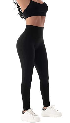 Beelu Damen Yoga Seamless Leggings Blickdicht Frauen Hohe Taille Slim Nahtlose Fit Fitnesshose(Schwarz EU 36-Etikett S)