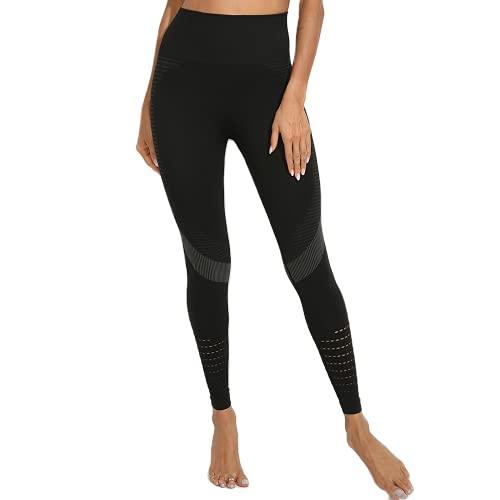 QTJY Señoras Deportes Fitness Pantalones de Yoga Leggings de compresión gradiente Pantalones sin Costuras Estiramiento de Cintura Alta Pantalones de Fitness para Correr CL