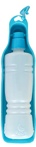 wohnen-freizeit Trinkflasche Hunde, Trinkflasche Hund Für Unterwegs Klein Hunde Wasserflasche Faltbar Hundetrinkflasche Für Reise Auslaufsicher Wasserspender 450ml (Blau)