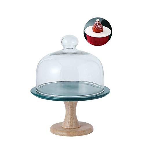 XZG-Geschirr Steak Teller Premium-Kuchen-Standplatz-Set, Keramik Brotteller mit Holzgestell und Glasdeckel Restaurant Falafel Dome (Grün) 8 / 10Inch Salat Platte (Size : 20.6 * 20.6 * 25CM)