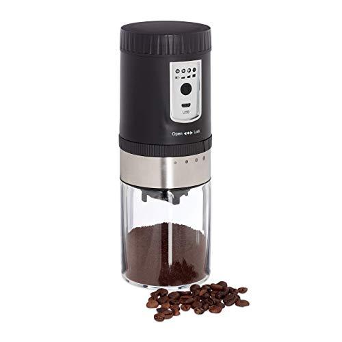 Relaxdays Elektrische Kaffeemühle, verstellbares Keramikmahlwerk, tragbar, USB Espressomühle, Edelstahl, silber/schwarz