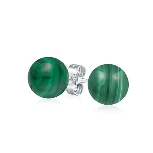 Simple Piedras Preciosa Verde Malaquita Pendiente De Boton Bola Redonda Para La Mujer La Plata Esterlina 925 10 Mm