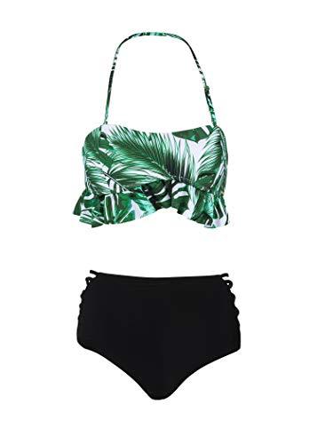 Glam and Gloria Tropischer Palmen Blatt Damen Bikini mit hoher Taille und Rüschen (2-TLG. Set) – Gr. M