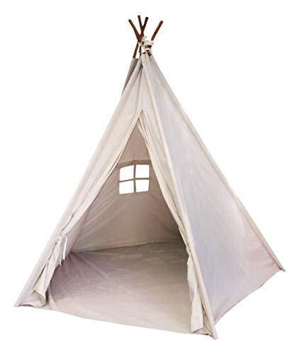 EJOY e-Joy 6' Indoor Indian Playhouse Toy Teepee Play Tent for Kids Toddlers Canvas Teepee with Carry Case with Mat (Off-White)