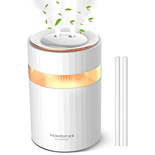 Cool Mist Humidifiers 900mL Air Humidifier, Whisper Quiet USB Desktop Humidifier with Night Light, Cool Air Humidifier for Bedroom Baby Room Home Office, 2 Nozzles 4 Filters 8~16 Working Hours White
