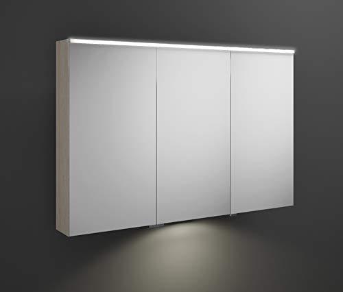 Burgbad Eqio Spiegelschrank mit Horizontaler LED-Beleuchtung und LED-Waschtischbeleuchtung, mittlerer Türanschlag Links SPGT120R, Breite: 1200mm, Korpus: Eiche Dekor Flanelle - SPGT120RF2632