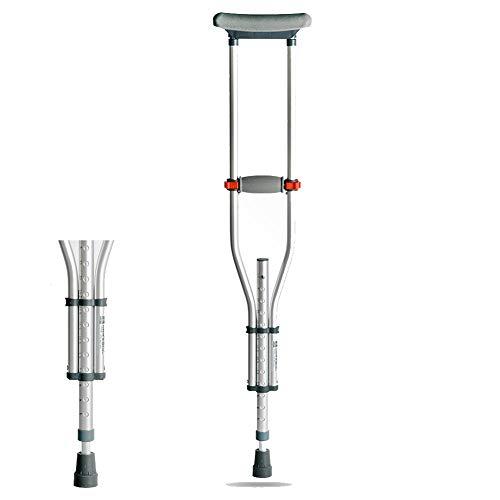 MOXIN Muletas Regulables de Aluminio axilares, Altura Ajustable 13 Archivos, Aleación de Aluminio Grueso, Durable para Adulto,Telescopicsingle