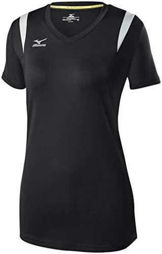 Mizuno Balboa 5.0 Short Sleeve Volleyball Jersey, Womens Medium, Black/Silver