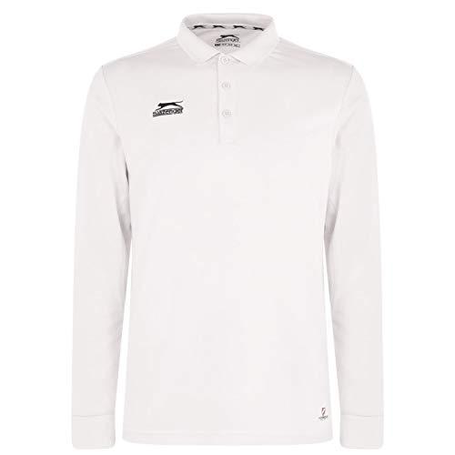 Slazenger Herren Langarm Cricket Polo Shirt Sport mit Kragen Weiß XL