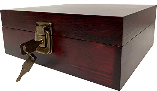 Locking Stash Box with Rolling Tray - Wood Stash Box With Lock - Wood Storage Box Stash Boxes (Dark Brown)