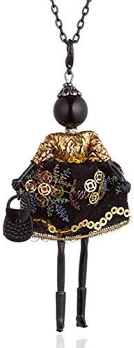 GLLFC Collar Oro púrpura Chino Bordado Vestido Largo Collares de muñecas Negro Collar de Cadena Larga Collar para Mujeres Joyería de declaraciónCollar para Mujeres Hombres