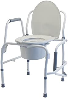 Lumex Silver Collection 3-in-1 Bedside Commode, Raised Toilet Seat, and Toilet Rails, 300 Pound Capacity, 6433A