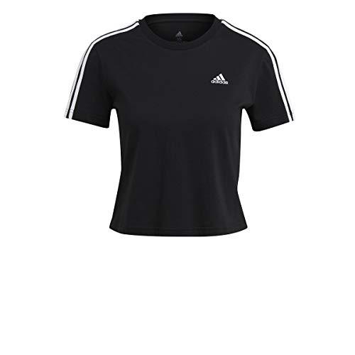 adidas W 3s Cro T Maglietta da Donna, Donna, Maglietta, GL0777, Nero/Bianco, XS