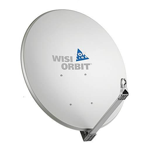WISI Orbit Topline Satelliten Offset-Antenne OA100G in Lichtgrau – 100cm Reflektor aus Aluminium mit 40mm LNB-Halterung, Feedarm und Mastschellen – Komplette Sat Antenne mit Montagezubehör