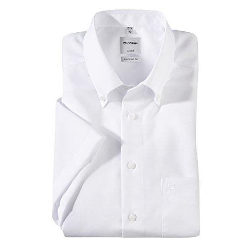 OLYMP weißes Kurzarmhemd bügelfrei Übergröße, Kragenweite:50
