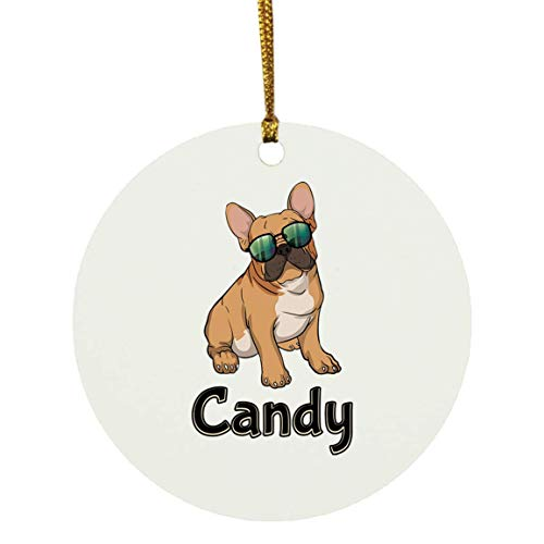 Weezag Candy French Bulldog Christmas Ornaments Tree Decor Decorations, Custom Personalized with Your Name Xmas Ornament Dog Lover Gifts for Pet Owner, 9317