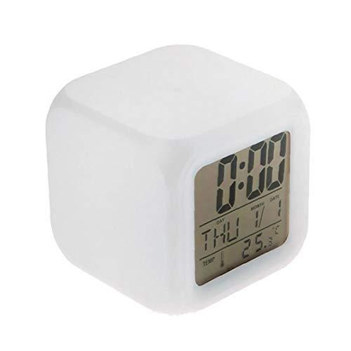 Odoukey Reloj de los niños, Reloj Despertador Digital, 12/24 Horas Grandes Indicadores LED, la luz de la Noche de Alarma, soñoliento, de los niños Dormitorio Calendario