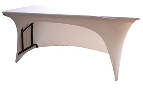 WHITE spandex stretch cover tablecloth for 4ft foot table 1 SIDE ARCHED . DJ BUFFET BAR by stretchycovers