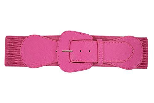 Retro Vintage Chunky Buckle Elastic Wide Stretch Waist Belt (Hot Pink)